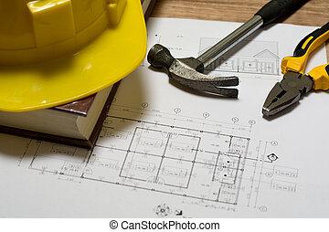construcción, plan, con, herramientas