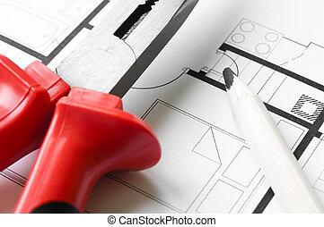 construcción, plan, herramientas