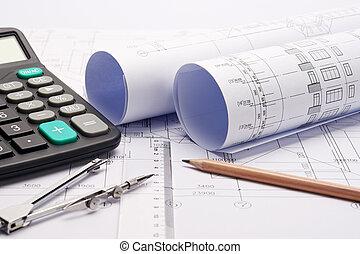 construcción, plan, planos, con, herramientas