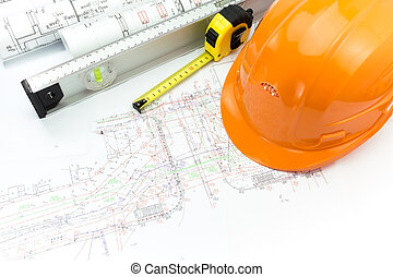construcción, planes, con, casco de seguridad