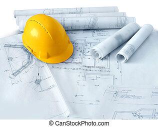 construcción, planes, y, sombrero duro