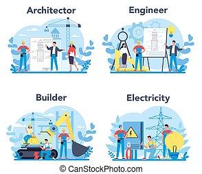 construcción, profesión, architecting, ingeniería, edificio...