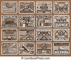 construcción, retro, herramienta, mano, equipo, carteles