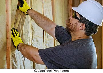 construcción, roca, guantes, debajo, lana, pared, lana, edificio, aislamiento, llevar a cabo la mano, mineral