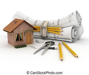 construcción, rollo, plan