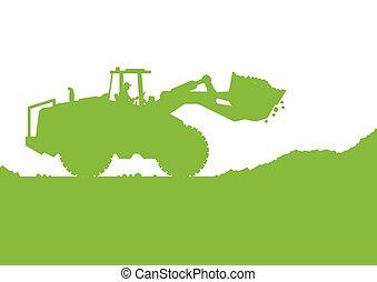 construcción, sitio industrial, cavar, vector, cargador, ...
