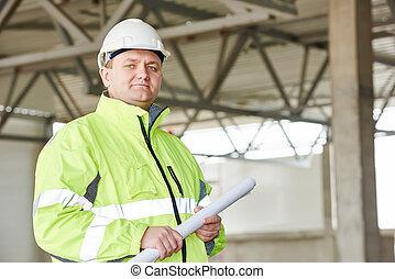 construcción, solar, capataz