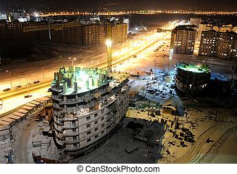construcción, solar, por la noche