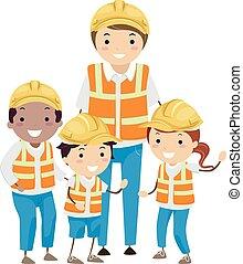 construcción, stickman, niños, ilustración, trabajadores