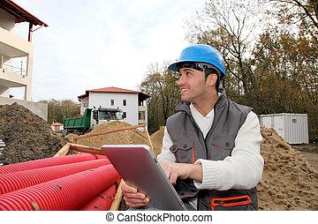 construcción, supervisor, sitio