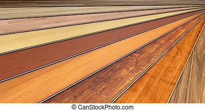 construcción, tablones, de madera, laminado