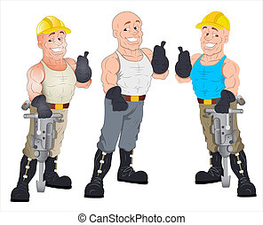 construcción, tipos, caricatura, debajo