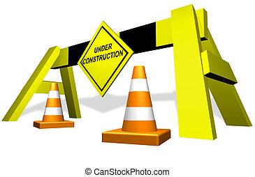construcción, tráfico, bloque, debajo