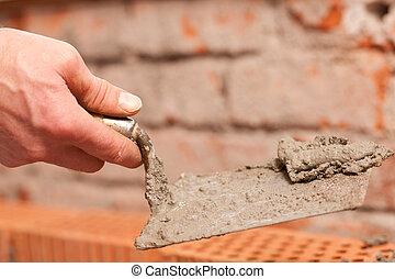 construcción, trabajando, albañil, sitio