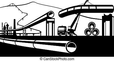 construcción, tubería, industrial