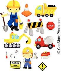 construcción, vector, conjunto