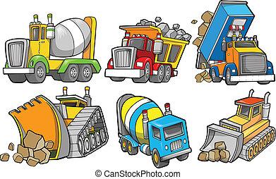 construcción, vector, conjunto, vehículo