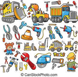 construcción, vector, diseñe elementos