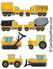 construcción, vector, máquinas