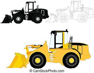 construcción, vector, -, máquinas