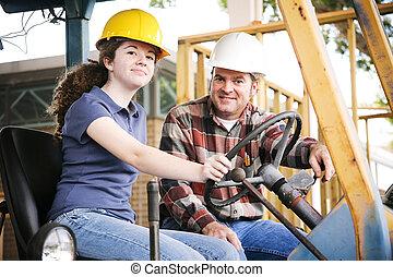 construcción, vocacional, entrenamiento