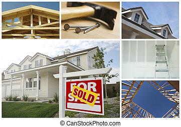 construcción, y, bienes raíces, collage