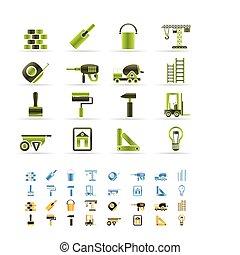 construcción, y, edificio, iconos