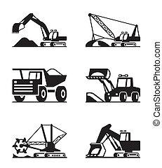 construcción, y, minning, equipo
