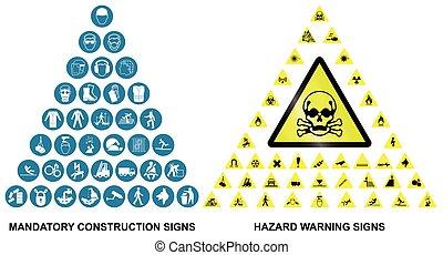construcción, y, peligro, advertencia, iconos