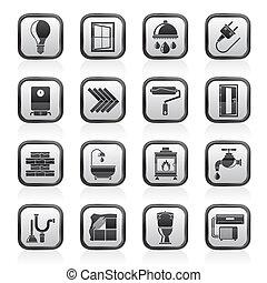 construcción, y, renovación, iconos