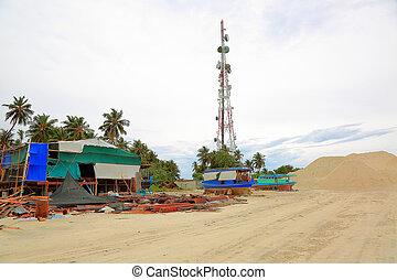 construcciones, viejo, basurero, hills., metal, maldivas, arena, lugar, basura, dhangethi, island., blanco, barcos, vista