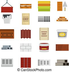 Construcion material icon set, flat style