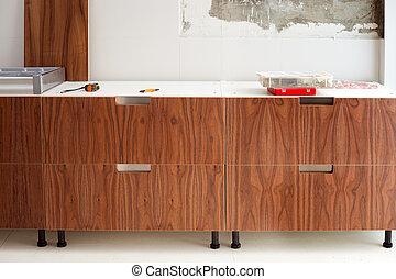 construcion, nowoczesny, orzech włoski, drewno, projektować, kuchnia