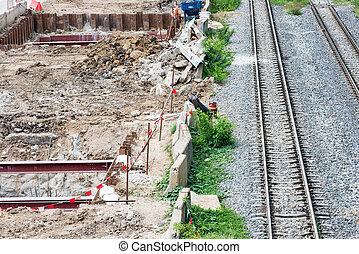 Construcion site for metro train near the old railway.