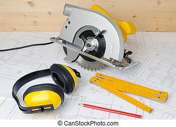 construcion tools - carpenter tools and construction plans