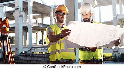construciton, groupe, gens, site, architectes, équipe