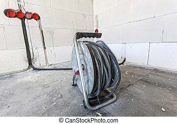 construciton, tambour, site, câble