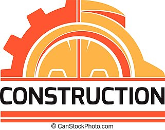 Construct building logo on white background, construction working industry concept. Vector illustration.