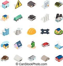 Construct icons set, isometric style