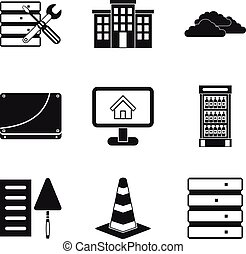 Construct the house icons set, simple style - Construct the...