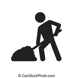 constructer shovel under construction icon. Vector graphic