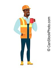 constructeur, african-american, coffee., avoirs entourent