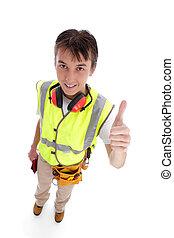 constructeur, apprenti, haut, pouces