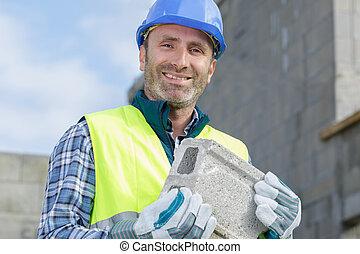constructeur, bâtiment, fort, bloc, porter