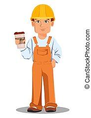 constructeur, beau, uniforme