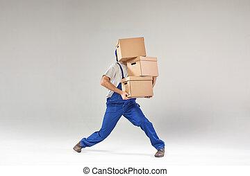 constructeur, boîtes papier, tenue, travailleur