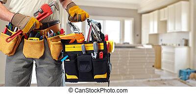 constructeur, bricoleur, à, construction, tools.