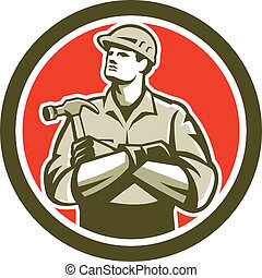 constructeur, charpentier, bras croisés, retro, cercle, ...