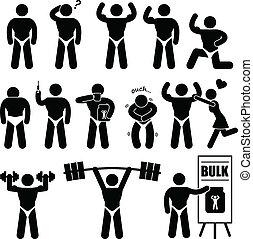 constructeur corps, muscle, culturiste, homme
