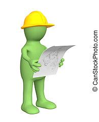 constructeur, croquis, 3d